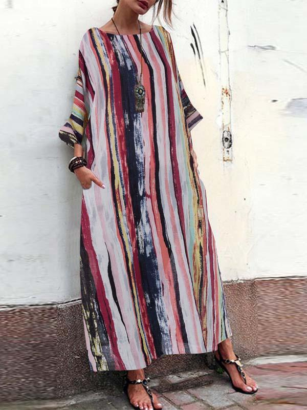 2020 round neck loose striped casual dress