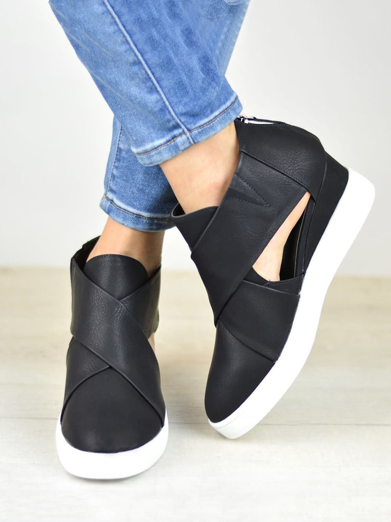 Womens Spring Cut Out Ankle Boots Wedge Sneakers  Shoes