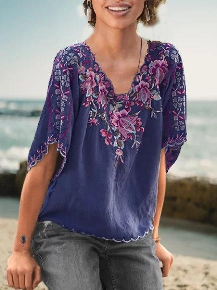 Casual Floral-Embroidered V Neck Shirts & Tops