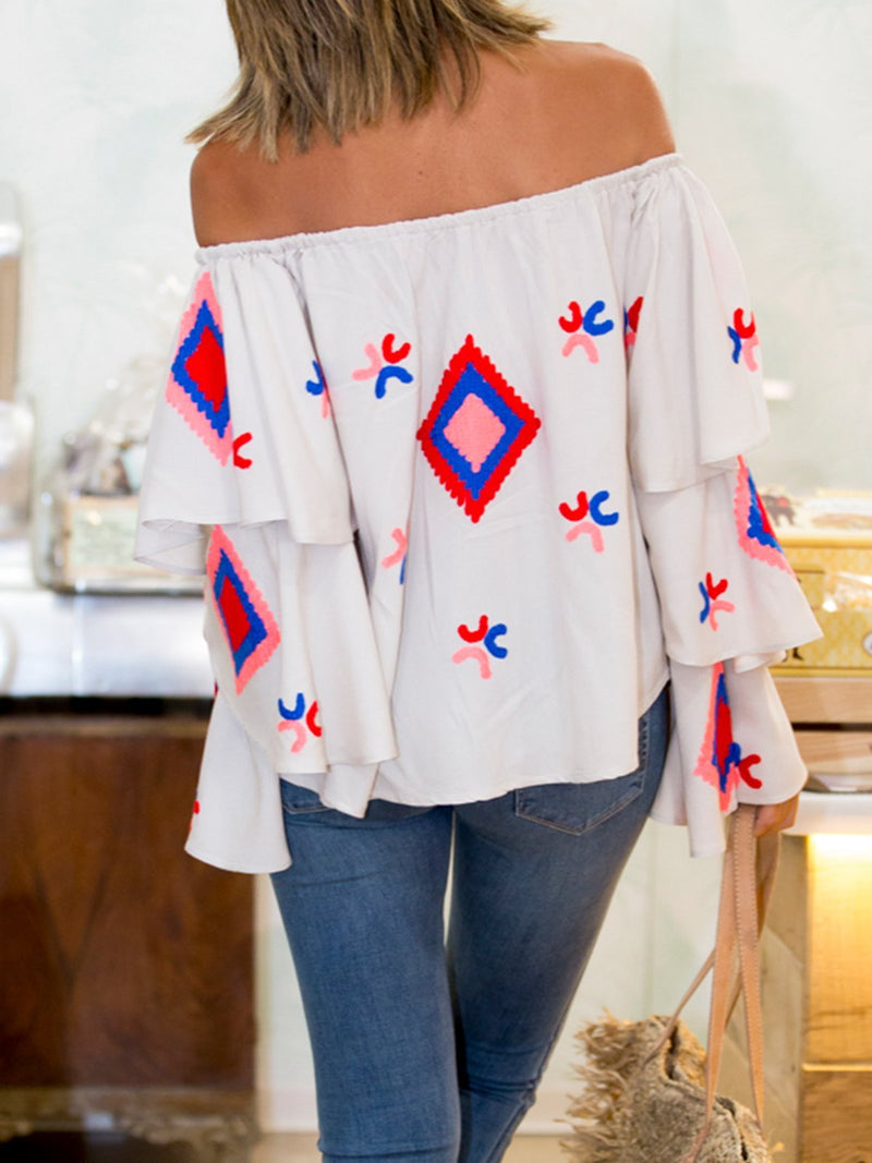 Off Shoulder Geometric Printing Bell Sleeve Blouse