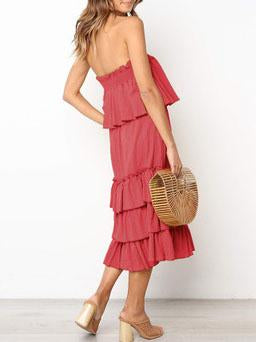 Loose plain off shoulder vacation dress
