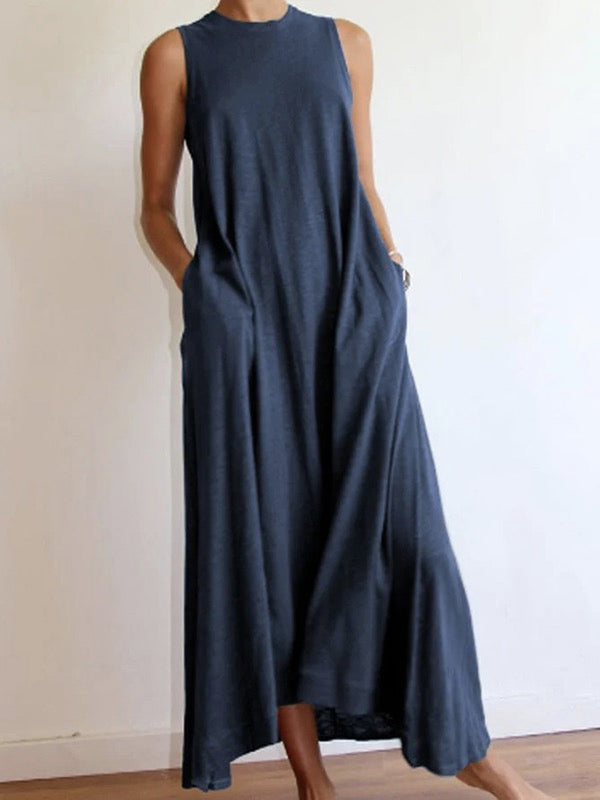 Summer plain loose sleeveless soft maxi dress
