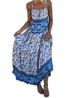Simple blue floral printed loose vacation dress