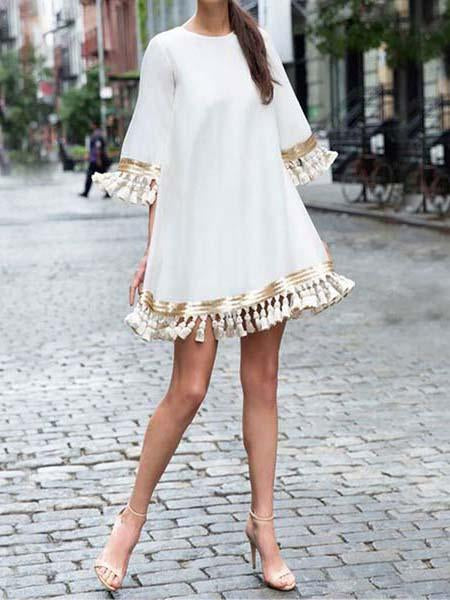 Round neck loose fringe decorated casual dress