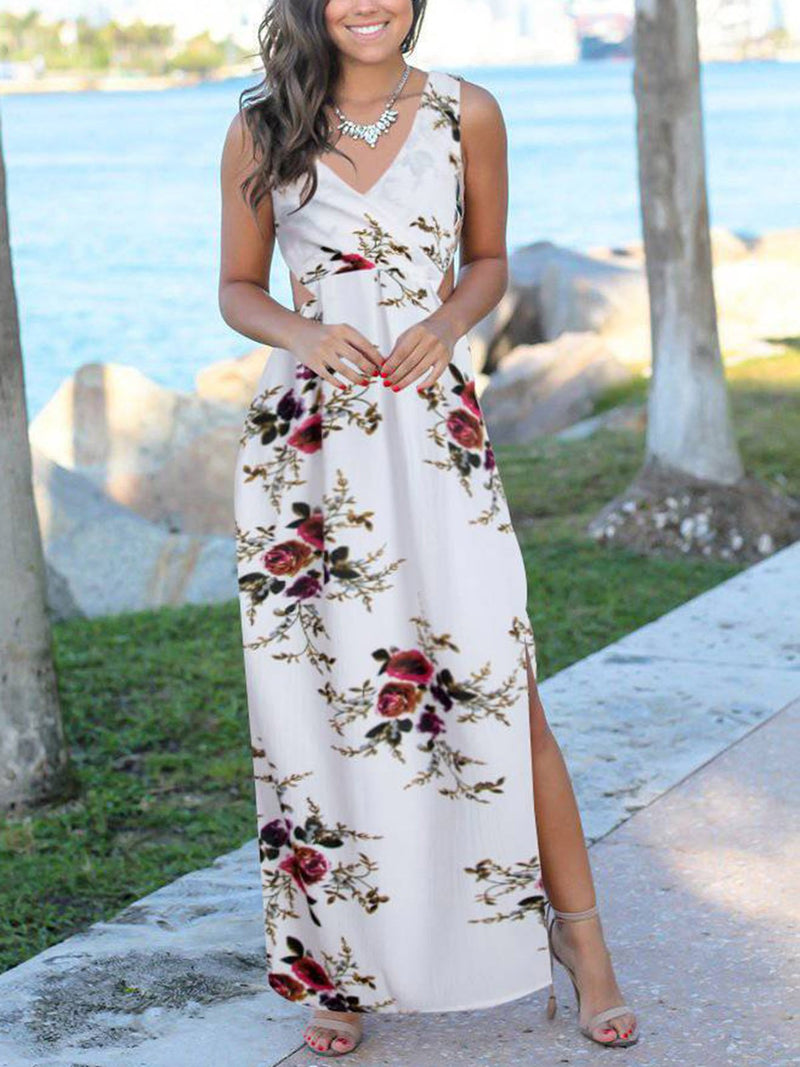 Floral Printed Casual Sleeveless Maxi Dresses