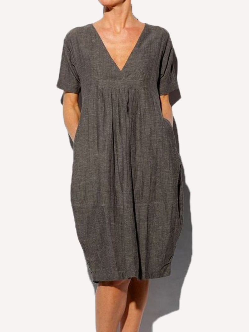 Solid Short Sleeves V Neck Casual Dresses