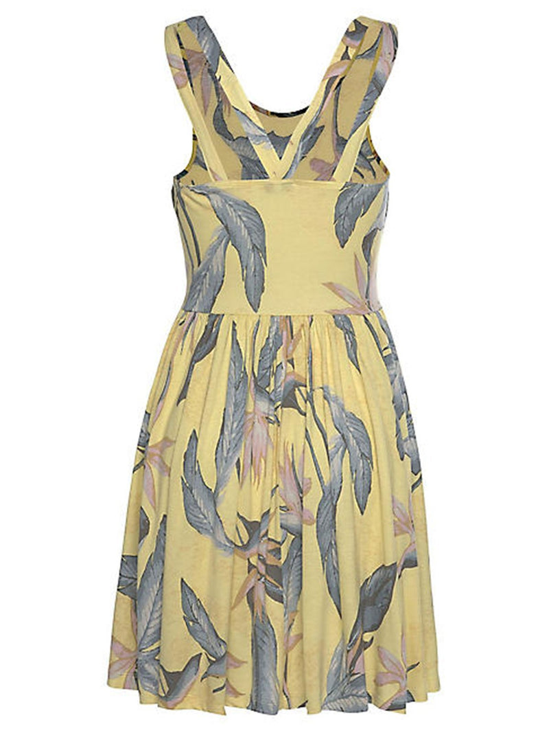 Yellow Printed/dyed Sleeveless Dresses