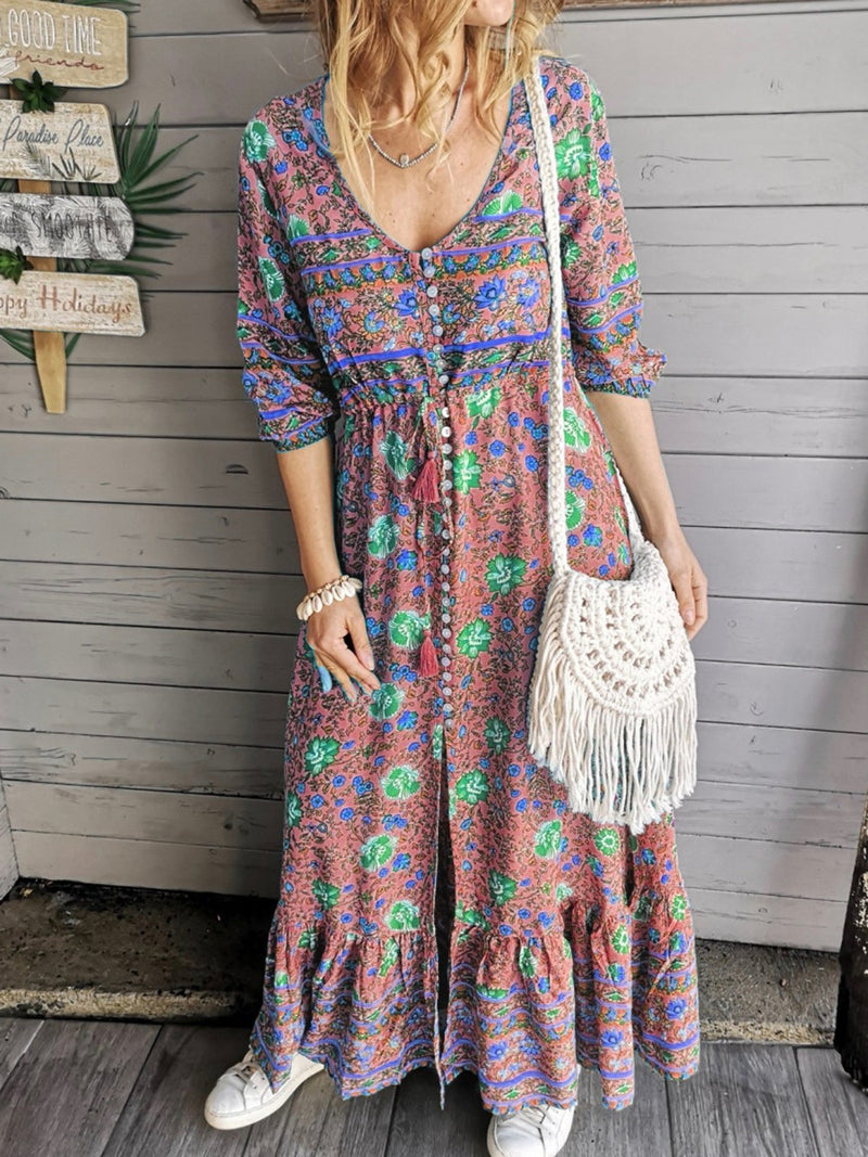 Crew Neck Boho Floral Going Out Paneled Dresses