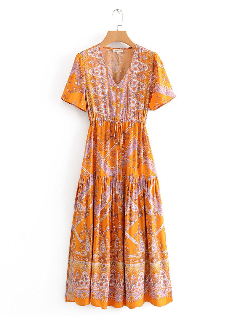 Fashion v neckfloral printed loose vacation dress