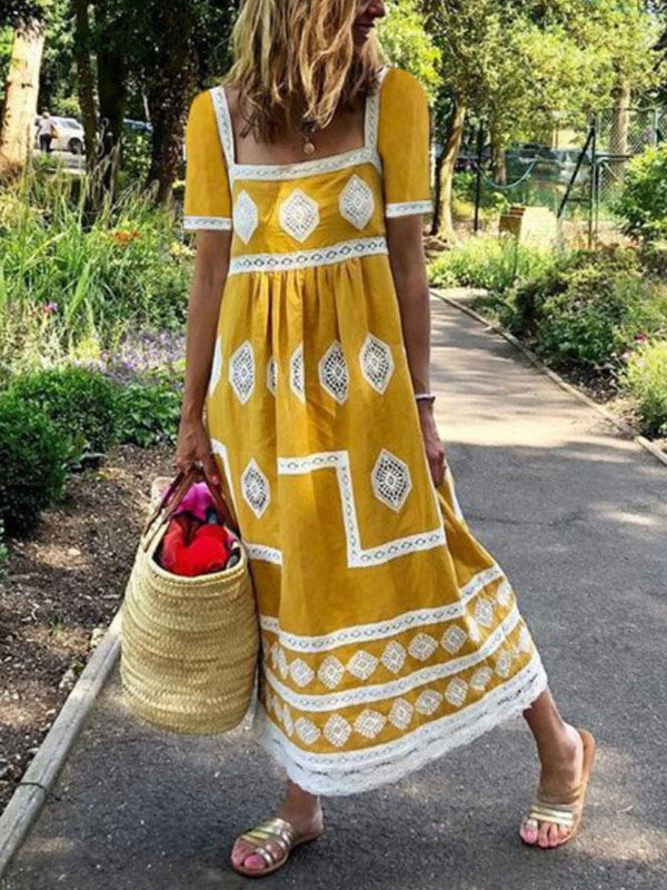 Chic square neck printed loose casual dress vacation dress