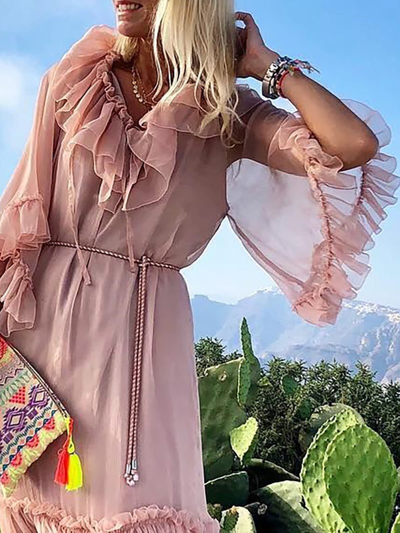 Pink Women Daily Lace Frill Sleeve Elegant Paneled Solid Summer Dress