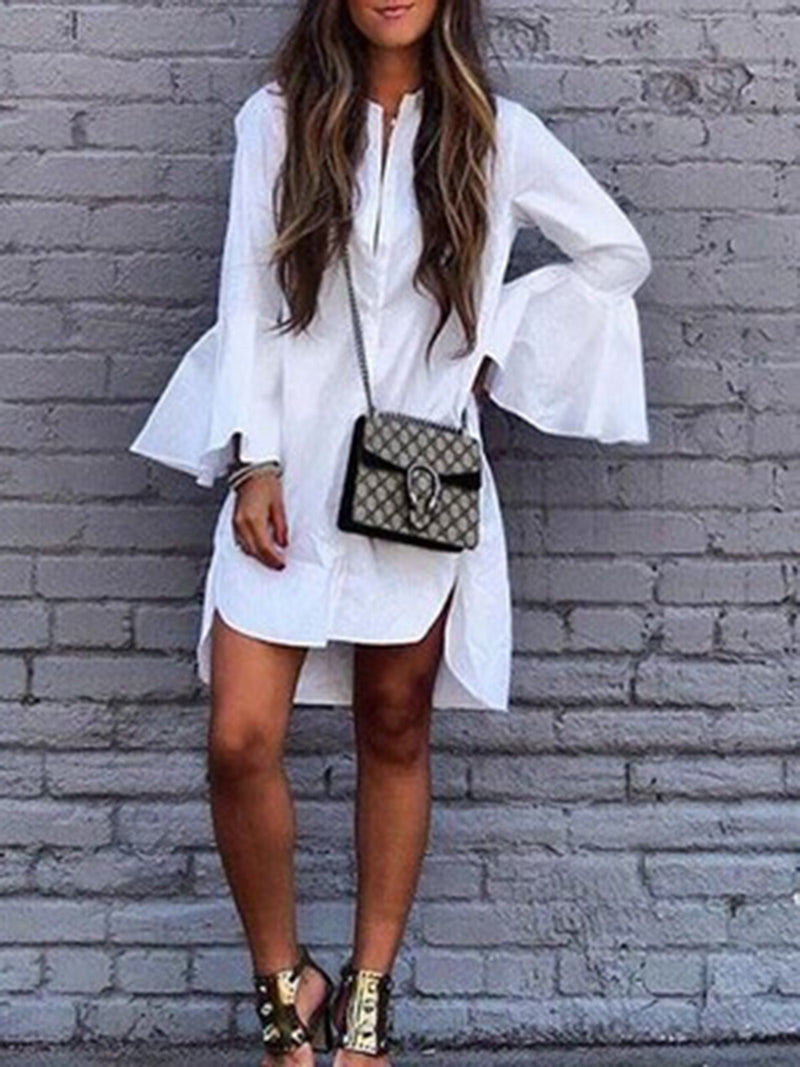 White Asymmetric Bell Sleeve Casual Dresses