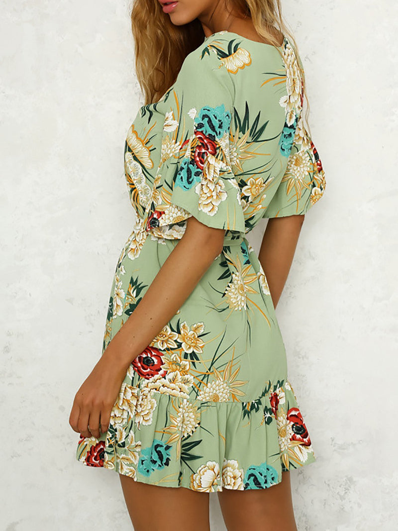 Women Daytime Frill Sleeve Paneled Floral Floral Dress