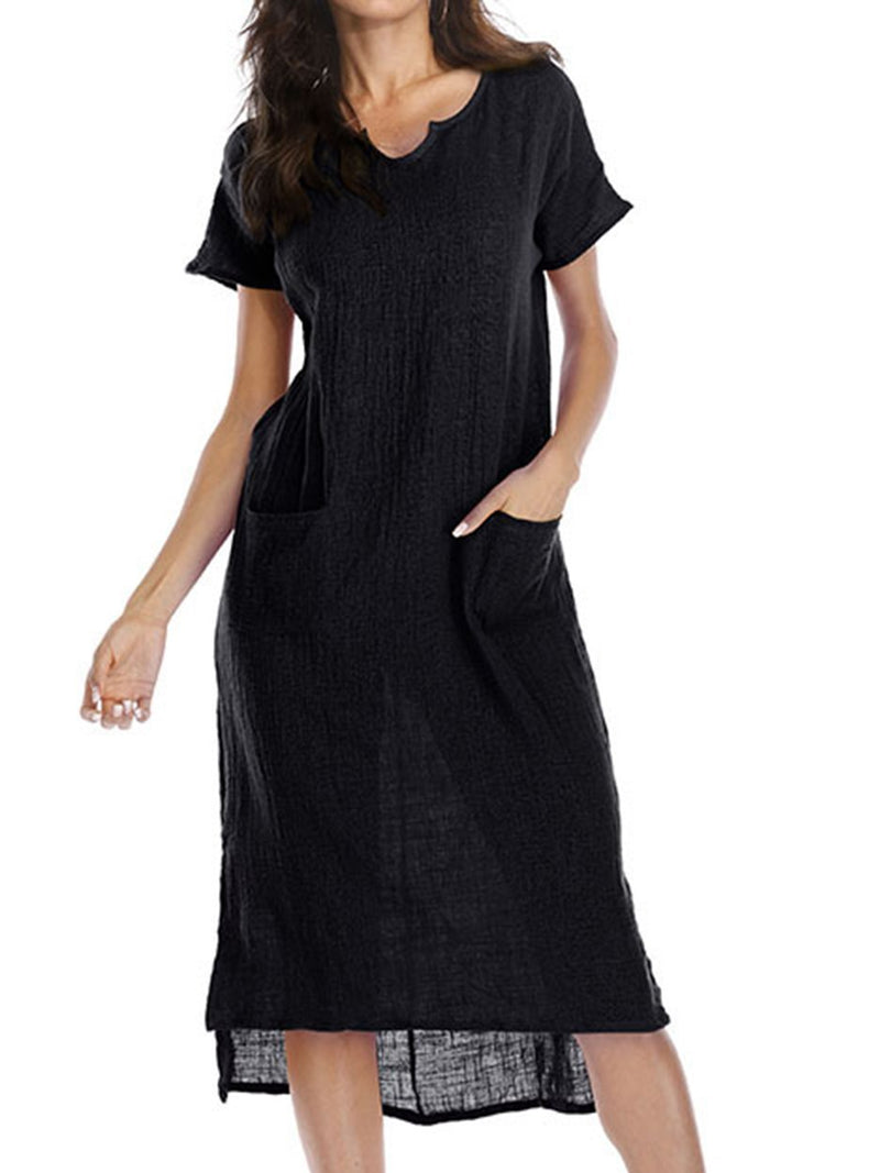 Plus Size V neck Casual Midi Dress
