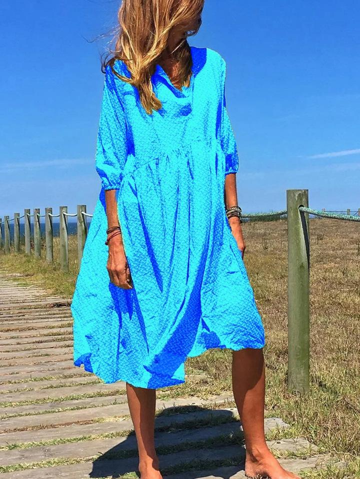 Round neck button decorated loose casual dress