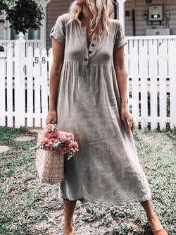 Casual Short Sleeve Solid Midi Dresses