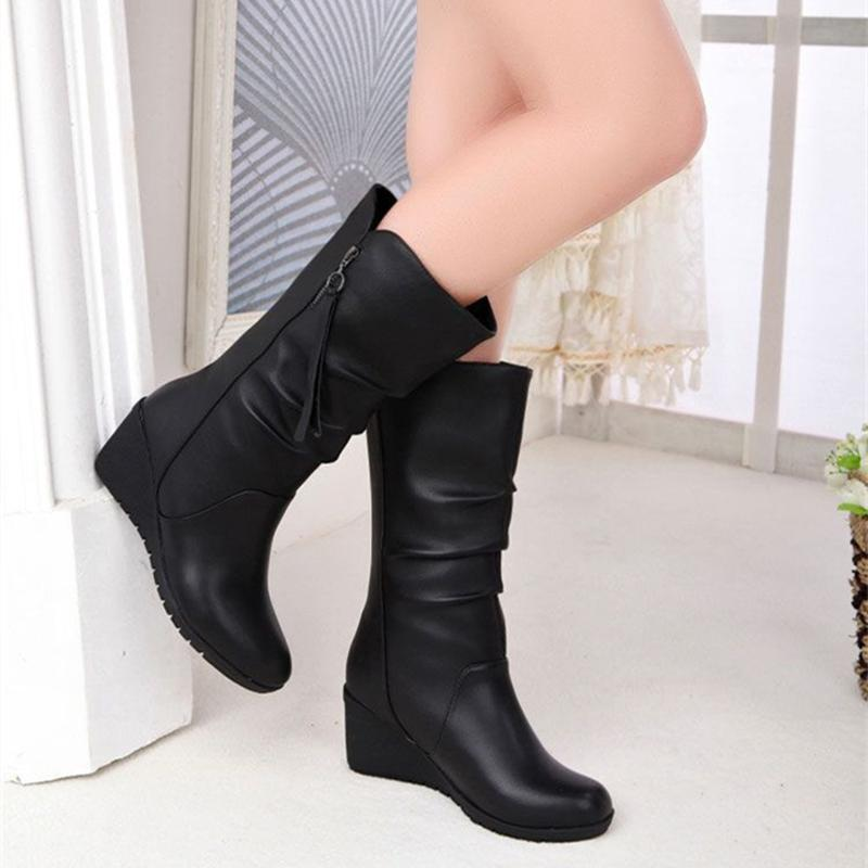 Womens Mid Calf Black Boots Comfy Artificial Leather Booties Wedge heel High Boots