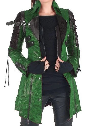 Long Sleeve Leather Outerwear