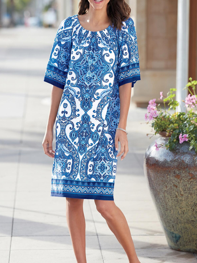 Cotton-Blend Printed Casual Dresses