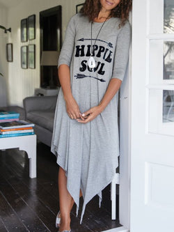 3/4 Sleeve Casual Letter Crew Neck Dresses