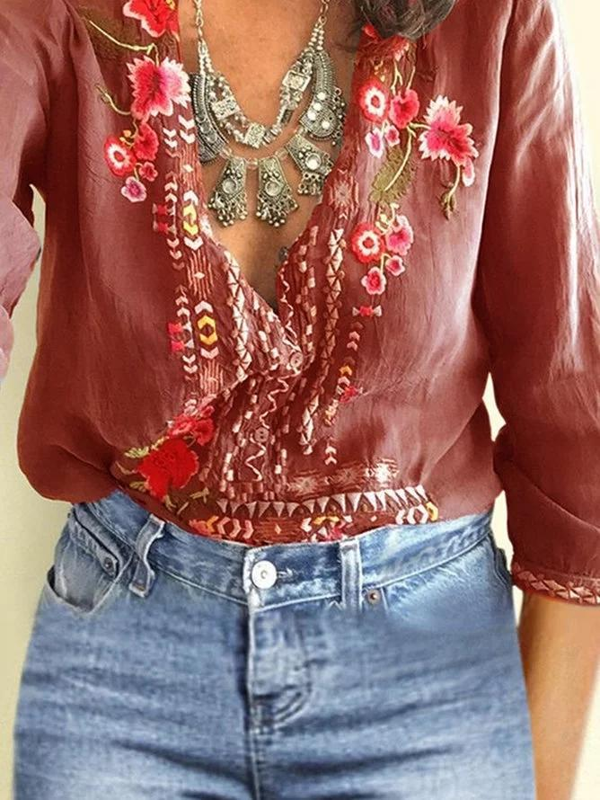 Bohemian Clothes Floral Embroidery Vintage V neck Blouse for Women