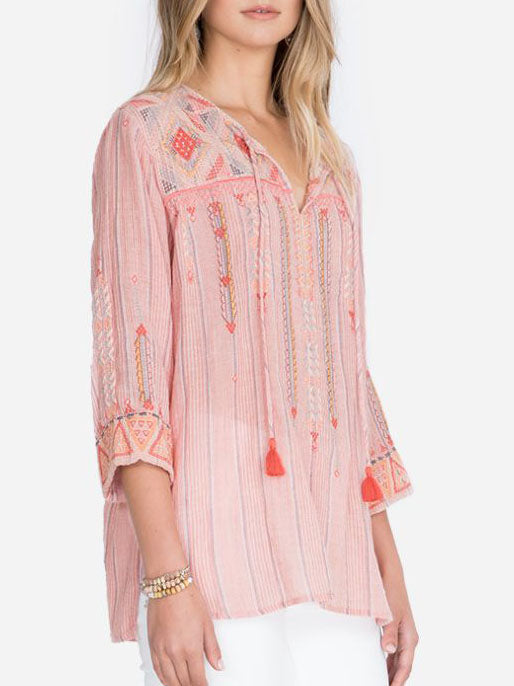 Summer v neck embroidery blouse