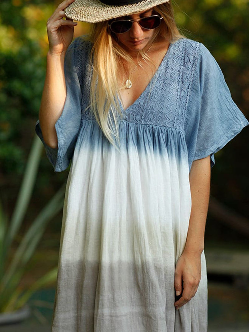 Blue Short Sleeve Boho Dresses