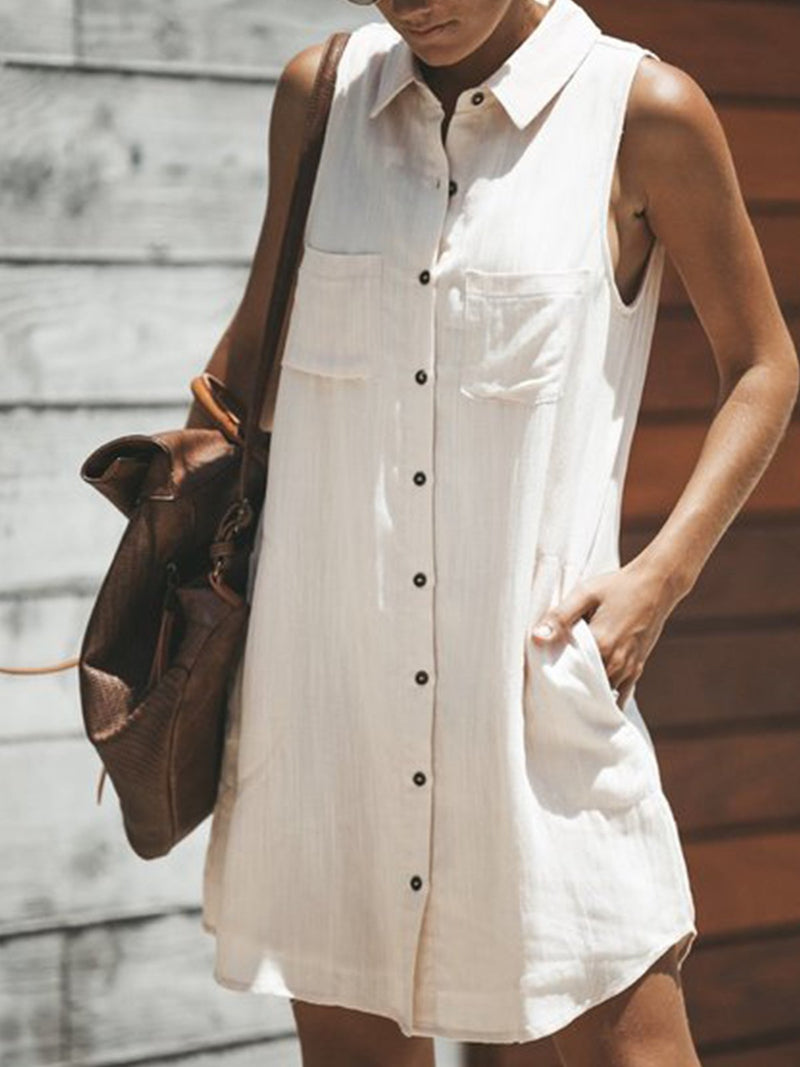 Women Daily Sleeveless Casual Pockets Solid Summer Dress