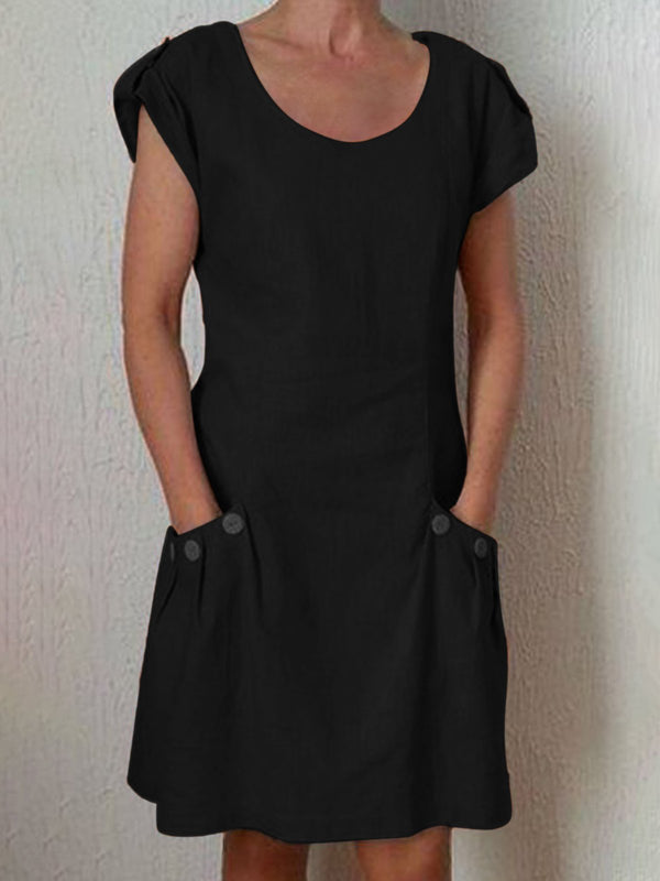 Crew Neck Women Dresses Shift Daily Buttoned Dresses