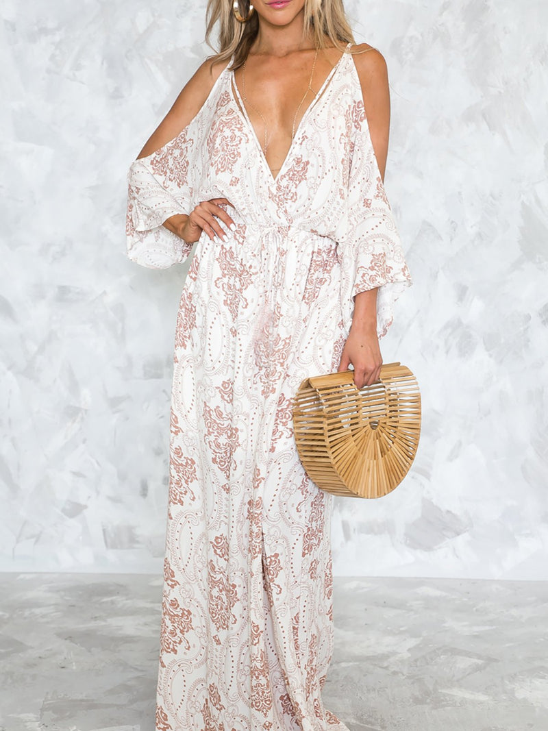 White Floral Printed Sexy Maxi Dress