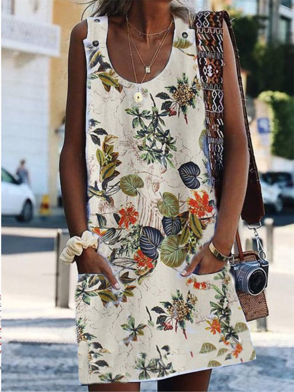 Vintage Floral Printed Sleeveless Pockets Plus Size Dress