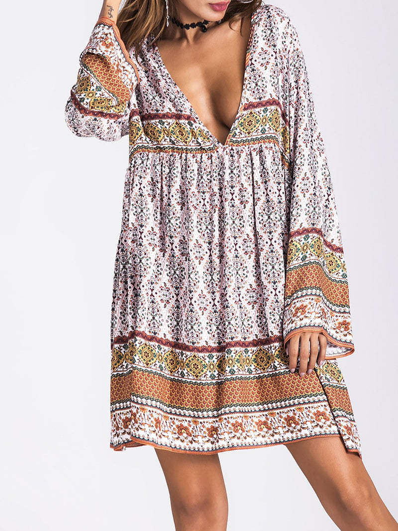 Women Vintage Summer Boho Paneled Dress