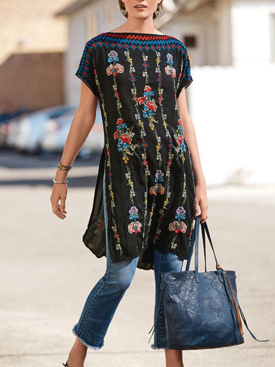 Fashion short sleeve long floral topBENNET TUNIC