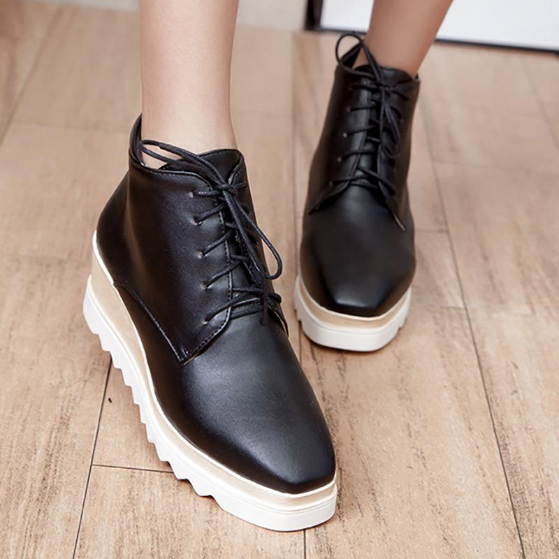 Women Wedge Heel Booties Casual Lace Up  Shoes