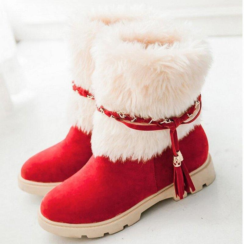 Womens Cute Artificial Suede Low Heel Snow Boots