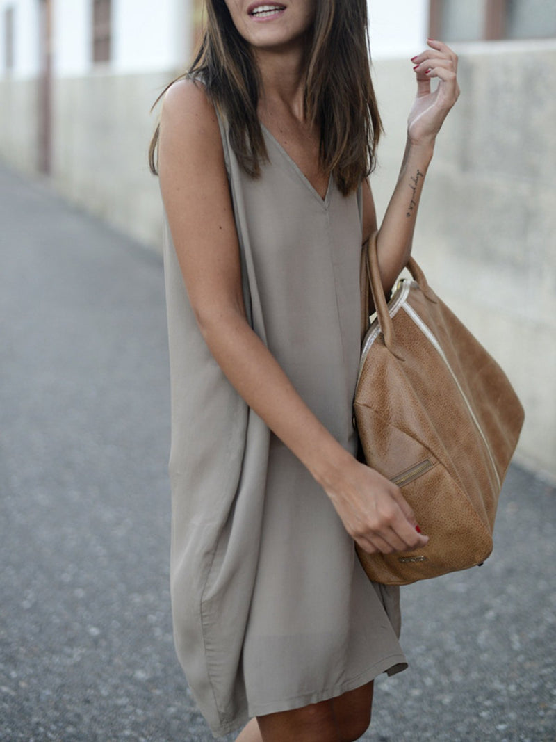 Women Gray A-line Beach Casual Sleeveless Solid Dress
