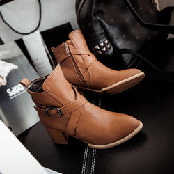 Yellow Criss-cross Adjustable Buckle Chunky Heel Daily PU Boots