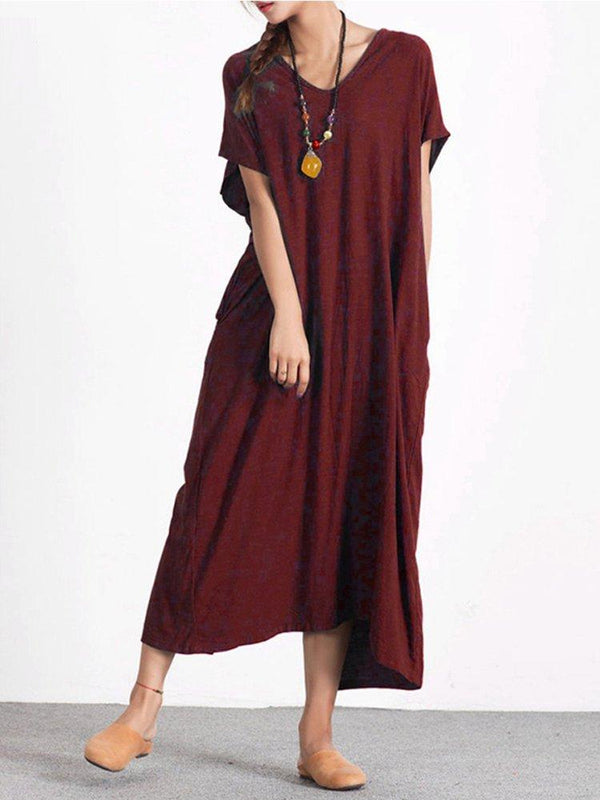 Casual Pure Color Button Back Short Sleeve Loose Dresses For Women