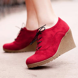 Womens Casual Lace-up Nubuck Wedge Heel Shoes