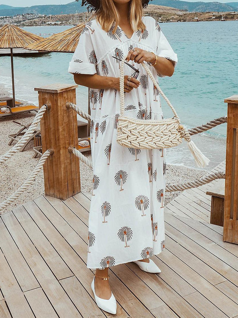Palm Tree Print Women Summer Maxi Dresses