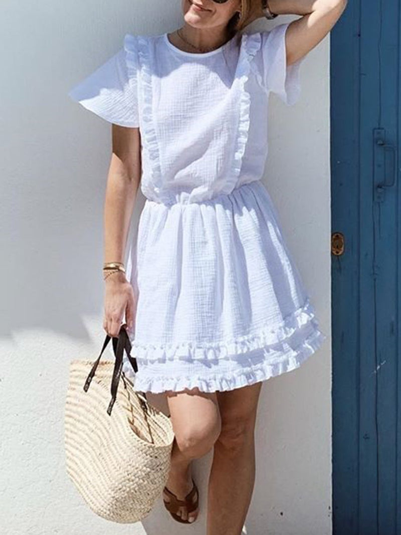 Crew Neck White Women Dresses Swing Solid Dresses