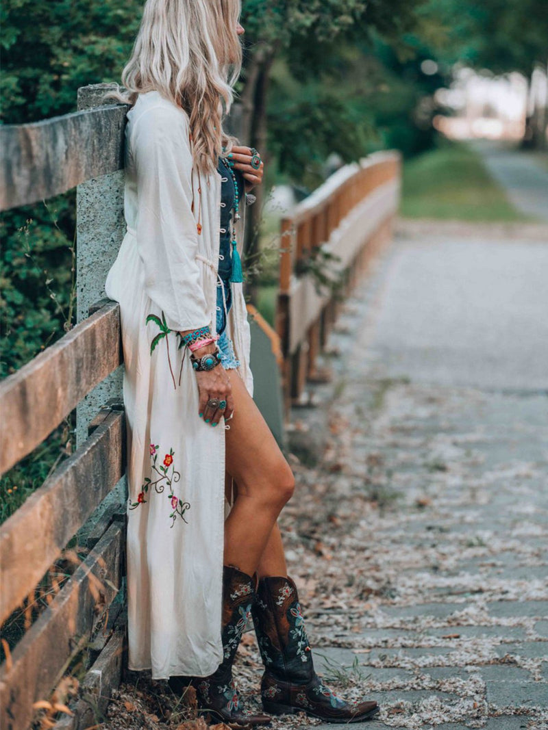 Long Sleeve Embroidered Maxi Dresses