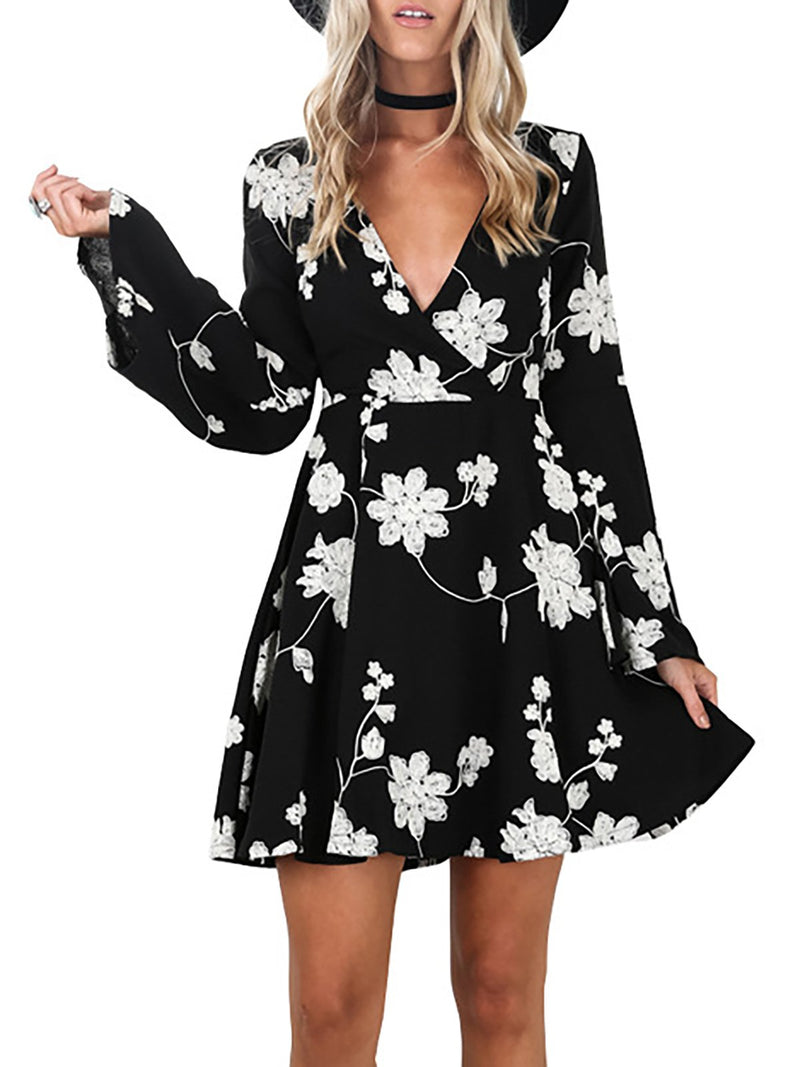 V Neck Black Women Fall Dresses A-Line Casual Floral Dresses
