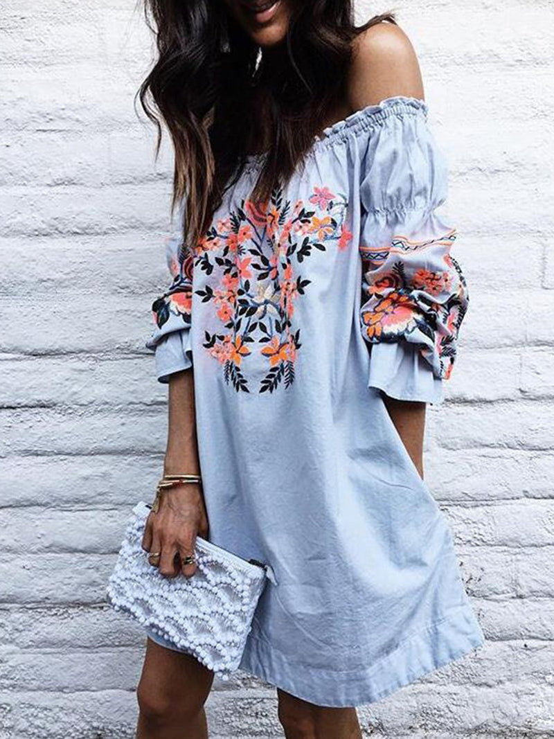Off Shoulder   Women Beach Short Sleeve Floral-print  Floral Dress