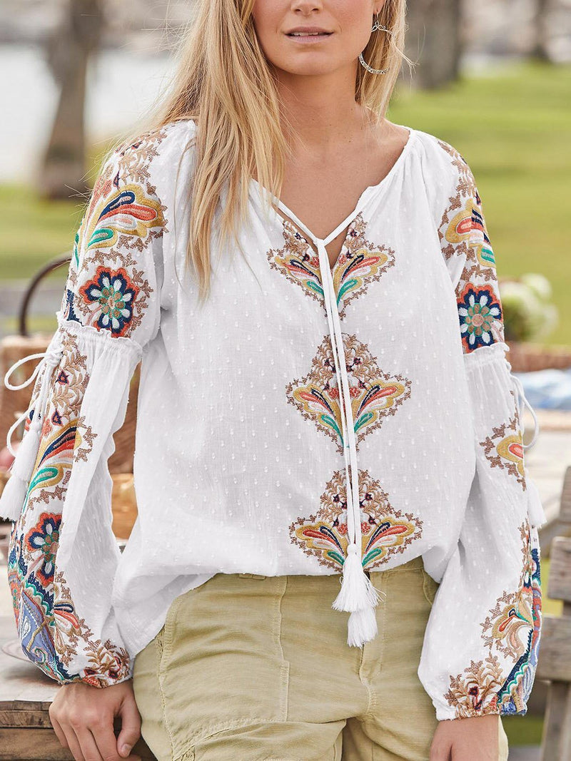 Fashion round neck printed loose thin blouse