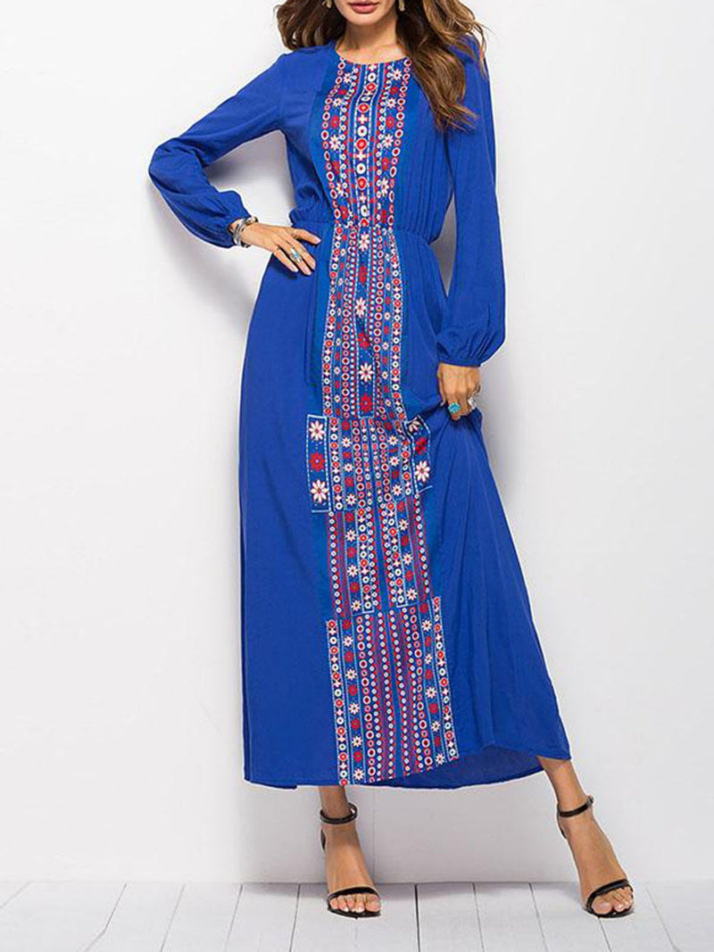 Holiday Tribal Printed Crew Neck  A-line Long Sleeve Maxi Dress