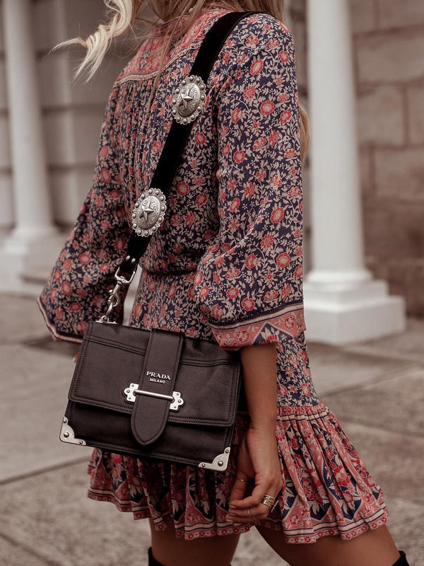 Bohemian Style Floral Printed Midi Dresses