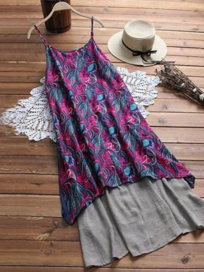 Deep Pink Cotton-Blend Printed Cold Shoulder A-Line Dresses