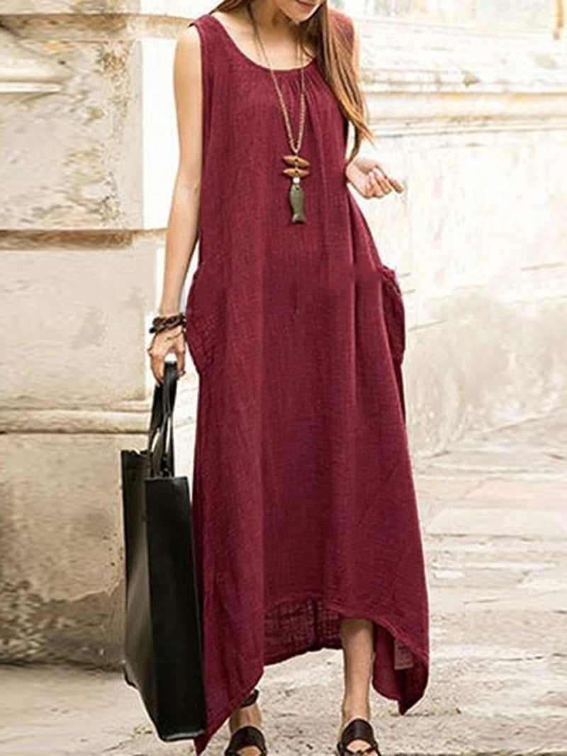 Crew Neck Sleeveless Linen Solid Maxi Dress