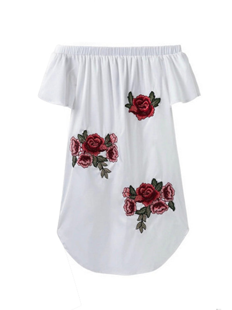 Off Shoulder   Women Daily Casual Short Sleeve Cotton-blend Embroidered Floral Floral Dress